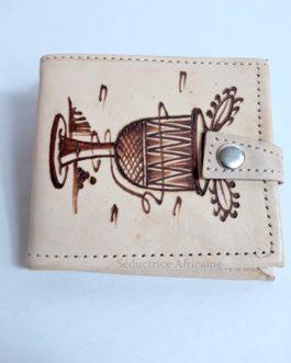 Porte feuille en cuir fait main origine Burkina Faso